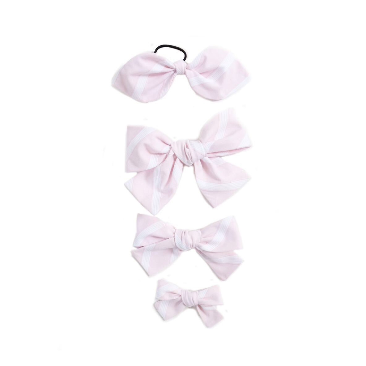 Handtied Hairbows Sweet Pea Stripe- Pink (Sm, Med, Lg, Ponytail)