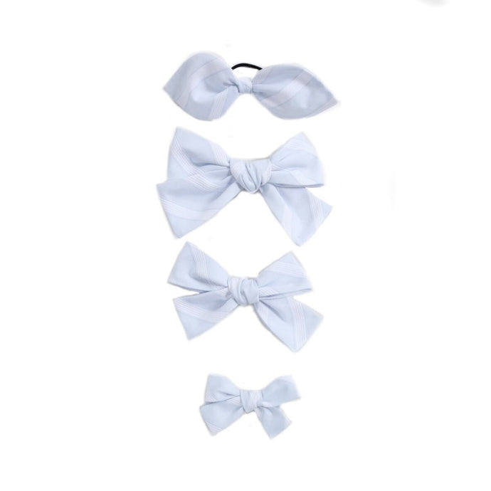 Handtied Hairbows Sweet Pea Stripe- Blue (Sm, Med, Lg)