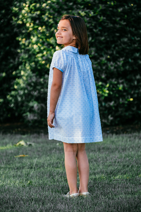 Sweet Pea Plumeti Blue Hattie Pocket Dress (2T, 6, 7)