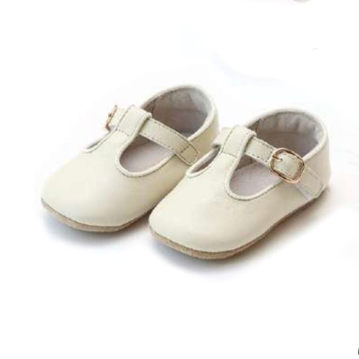 Evie T Band Crib Shoe- Light Beige