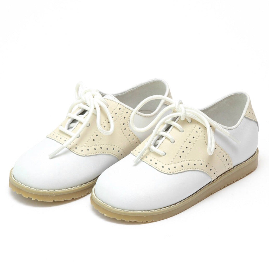 Luke Lace Up Saddle Shoes- Beige