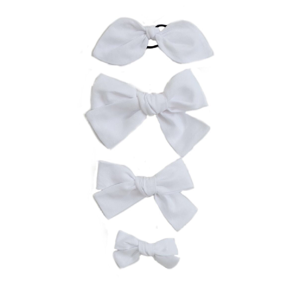Handtied Hairbows White Oxford