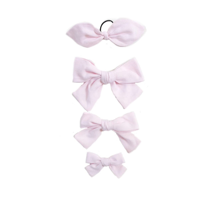 Handtied Hairbows Sweet Pea Light Pink Oxford (Sm)
