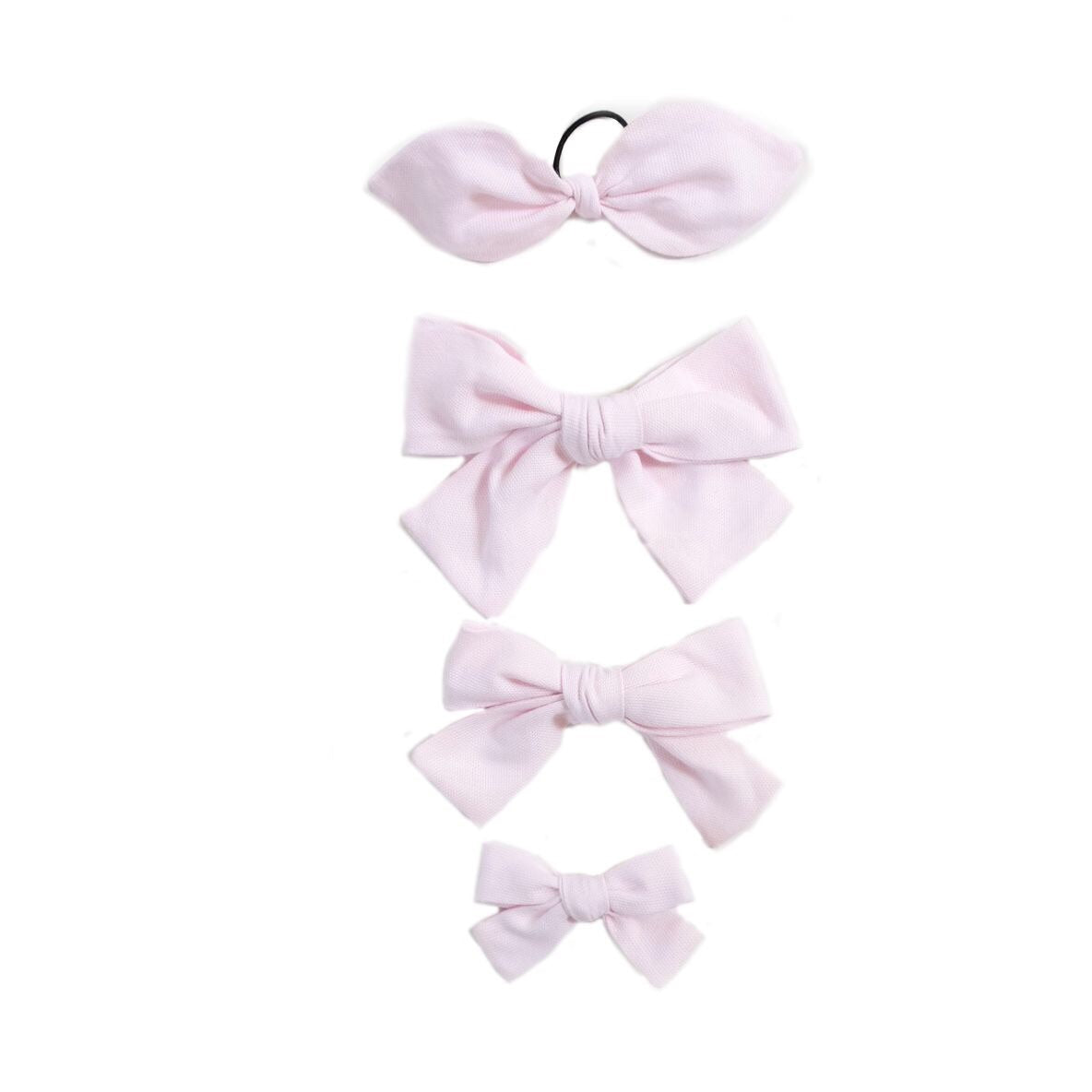 Handtied Hairbows Sweet Pea Light Pink Oxford (Sm, Med, Lg, Ponytail)