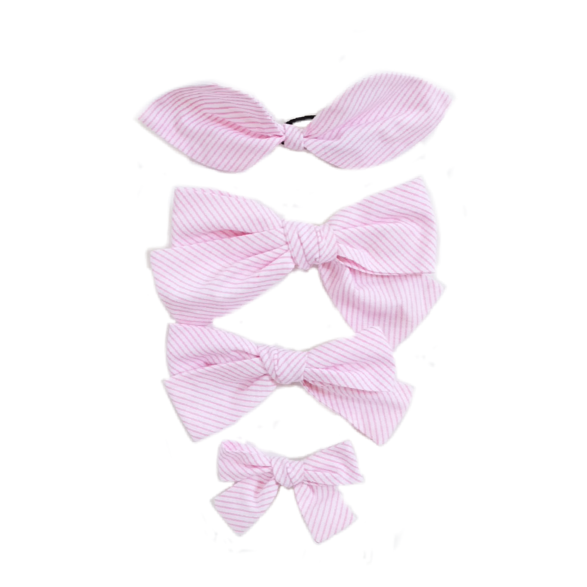 Handtied Hairbows Ice Cream Shop Candy Stripe (Med, Ponytail)