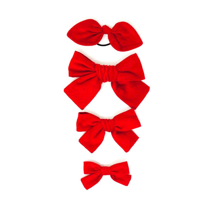 Hollly Jolly Corduory Holiday Hand Tied Hairbows