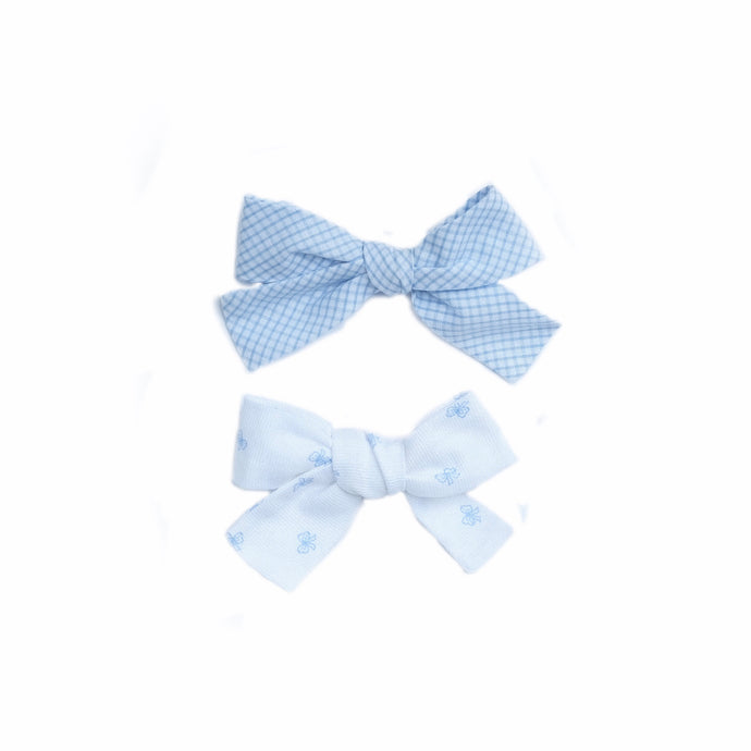 Blue Bows Pique Hand-Tied Hairbow (Medium, Large)