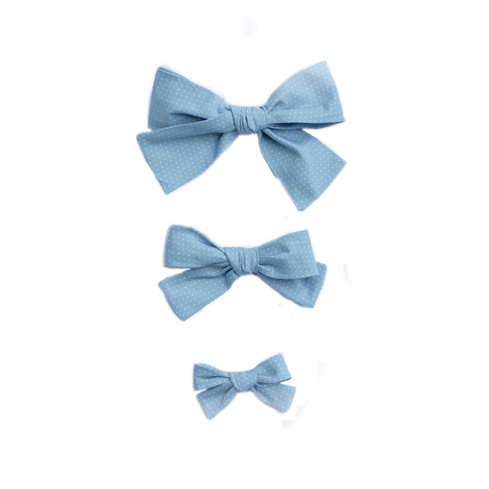Periwinkle Bitty Dot Hand-Tied Hairbow (Medium, Large)