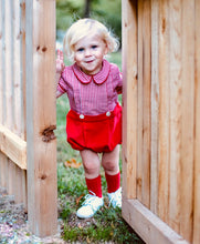 Holly Jolly Gingham and Corduroy Teddy Button On Bloomer (9m-2T)
