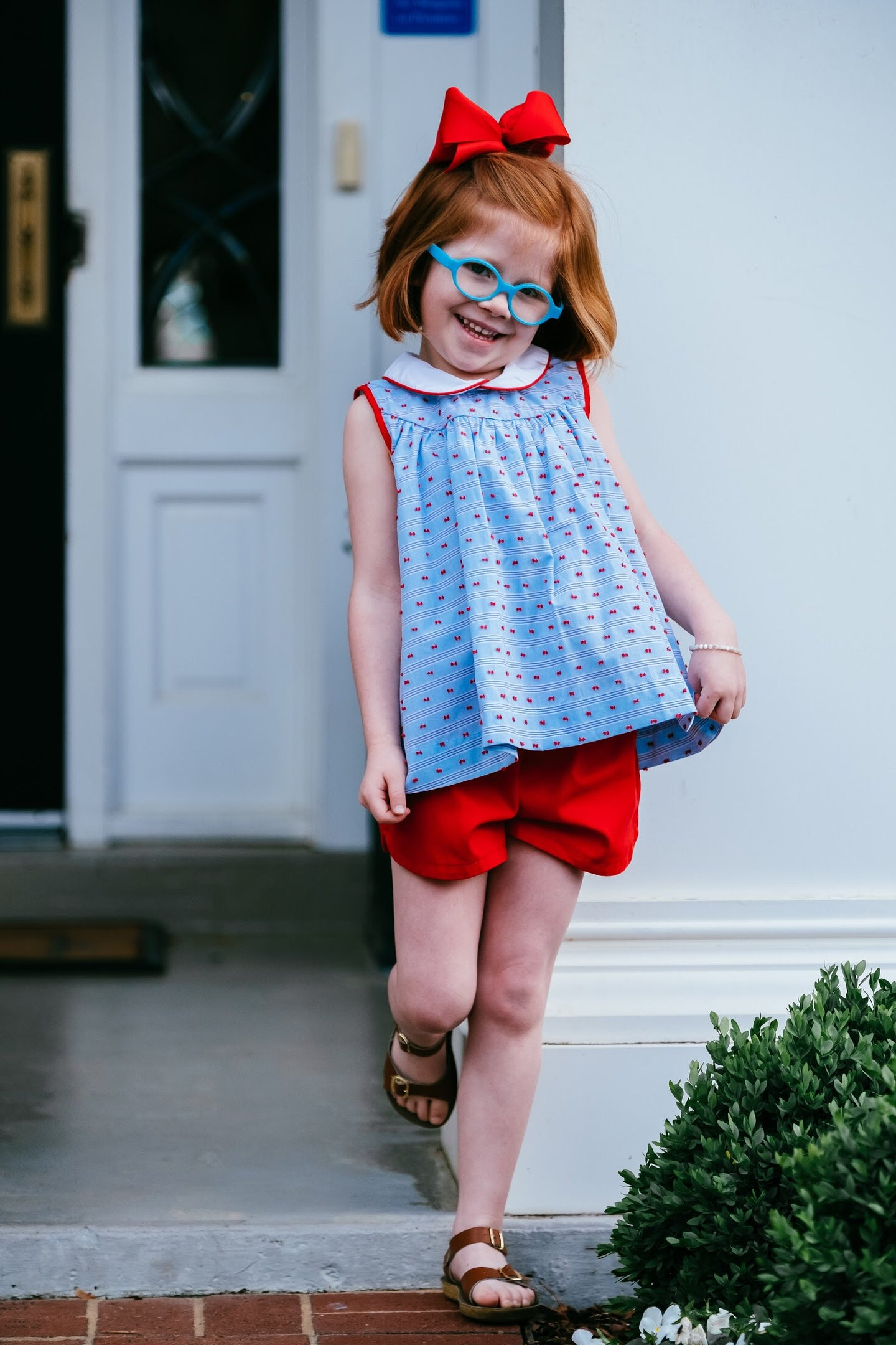 Sail Away Madeline Shorts Set Red and Blue Plumeti Stripe