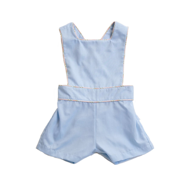 Ice Cream Shop Sutton Sunsuit in Blue Oxford with Multistripe Piping
