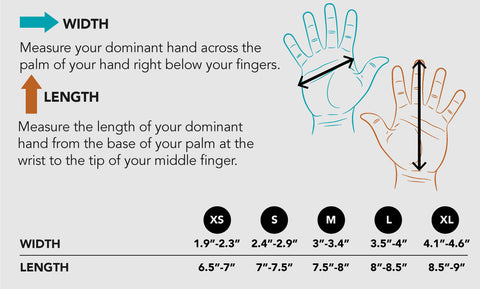 Complete diagram for glove sizing