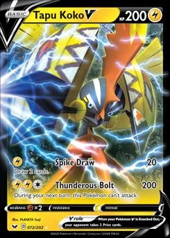 Sword & Shield- 72/202 - Tapu Koko V