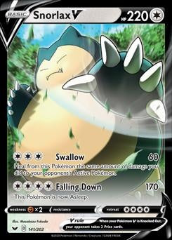 Sword & Shield- 141/202 - Snorlax V