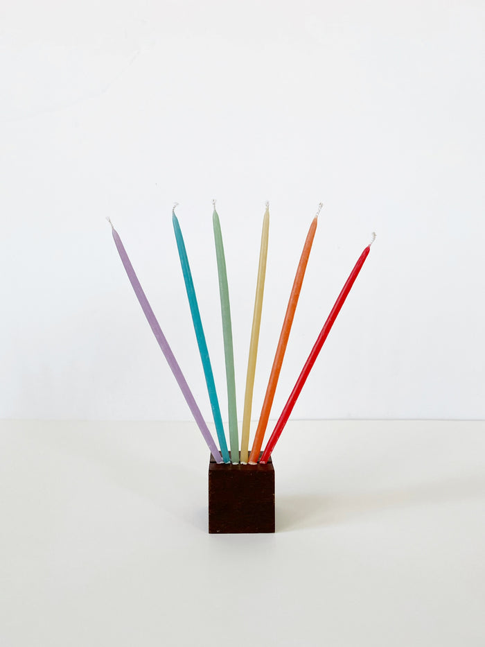 Beeswax Birthday Candles Tall - Rainbow!