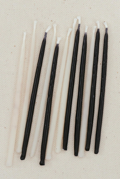 Beeswax Birthday Candles - Black & Whites