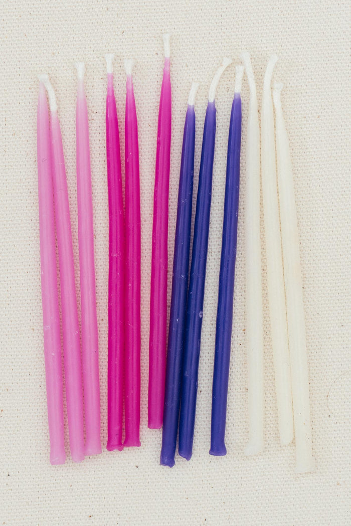 Beeswax Birthday Candles - Pinks