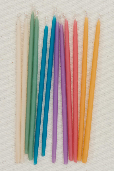 Beeswax Birthday Candles Tall - Pastels