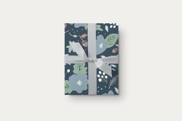 Navy Floral Gift Wrap