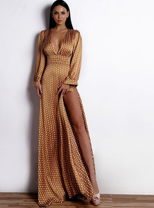 She Sparkles Gold Polka Dot Dress