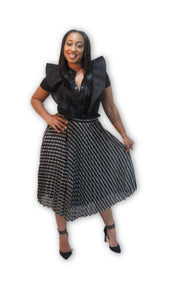 """I Sparkle"" Black and Silver Party Skirt"