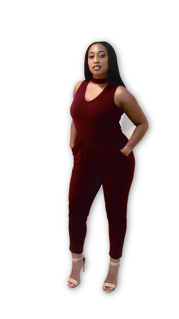 No Apologies Burgundy Jumpsuit