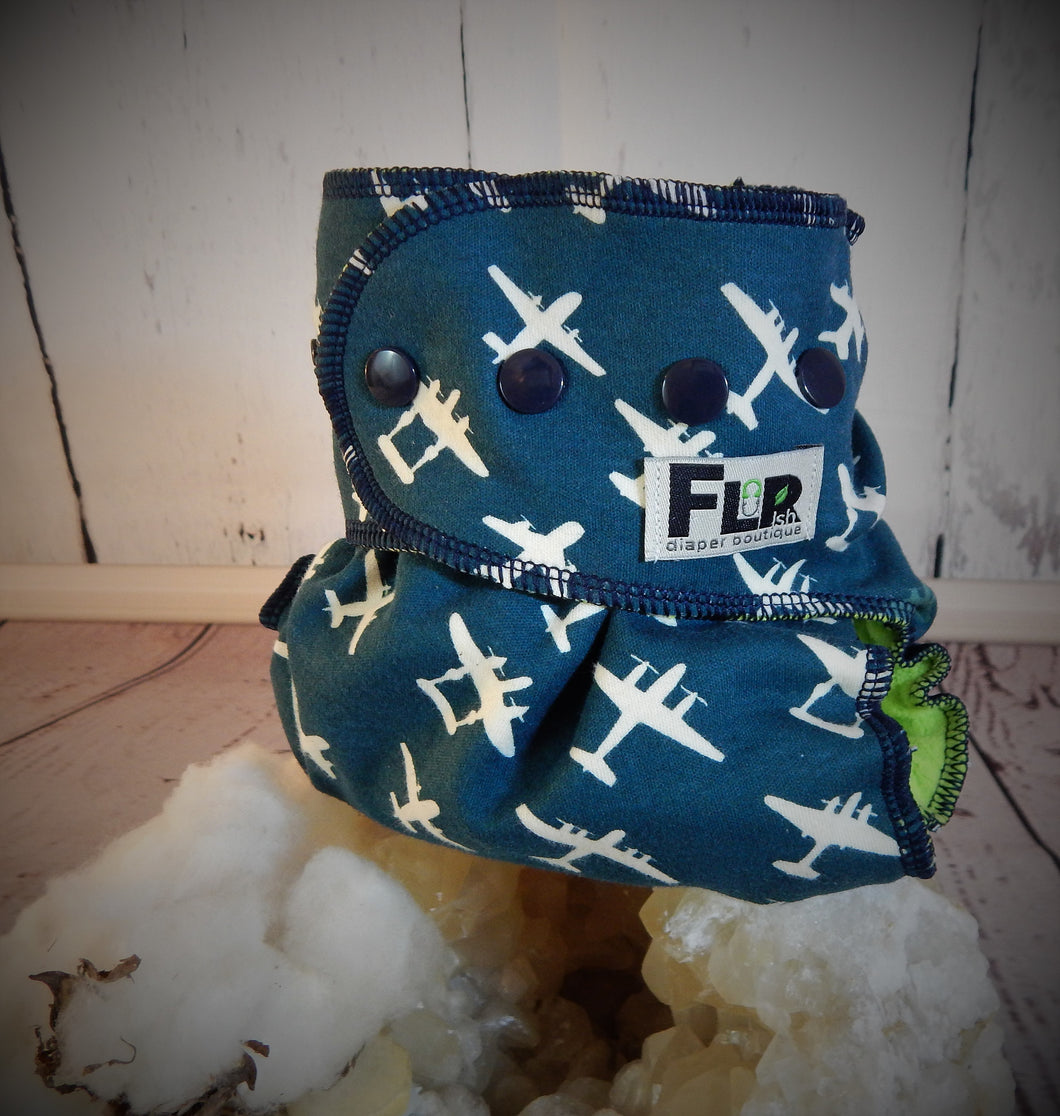 Vintage Navy Planes, One-Size, All-in-Two Cloth Diaper