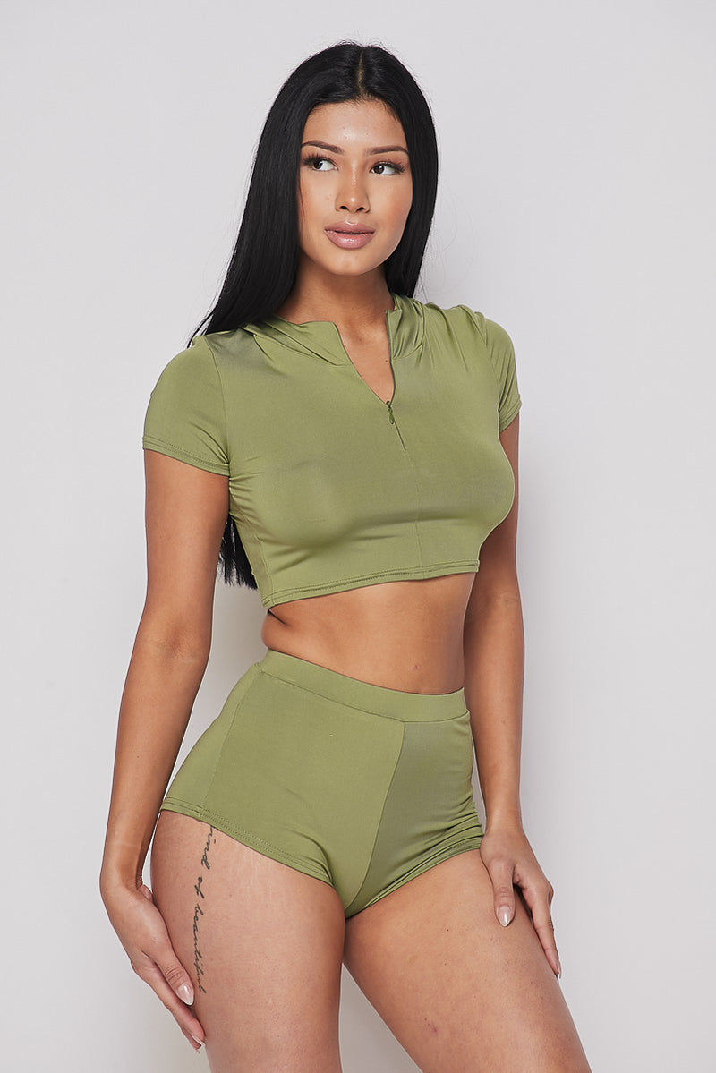 Military Green Crop Top