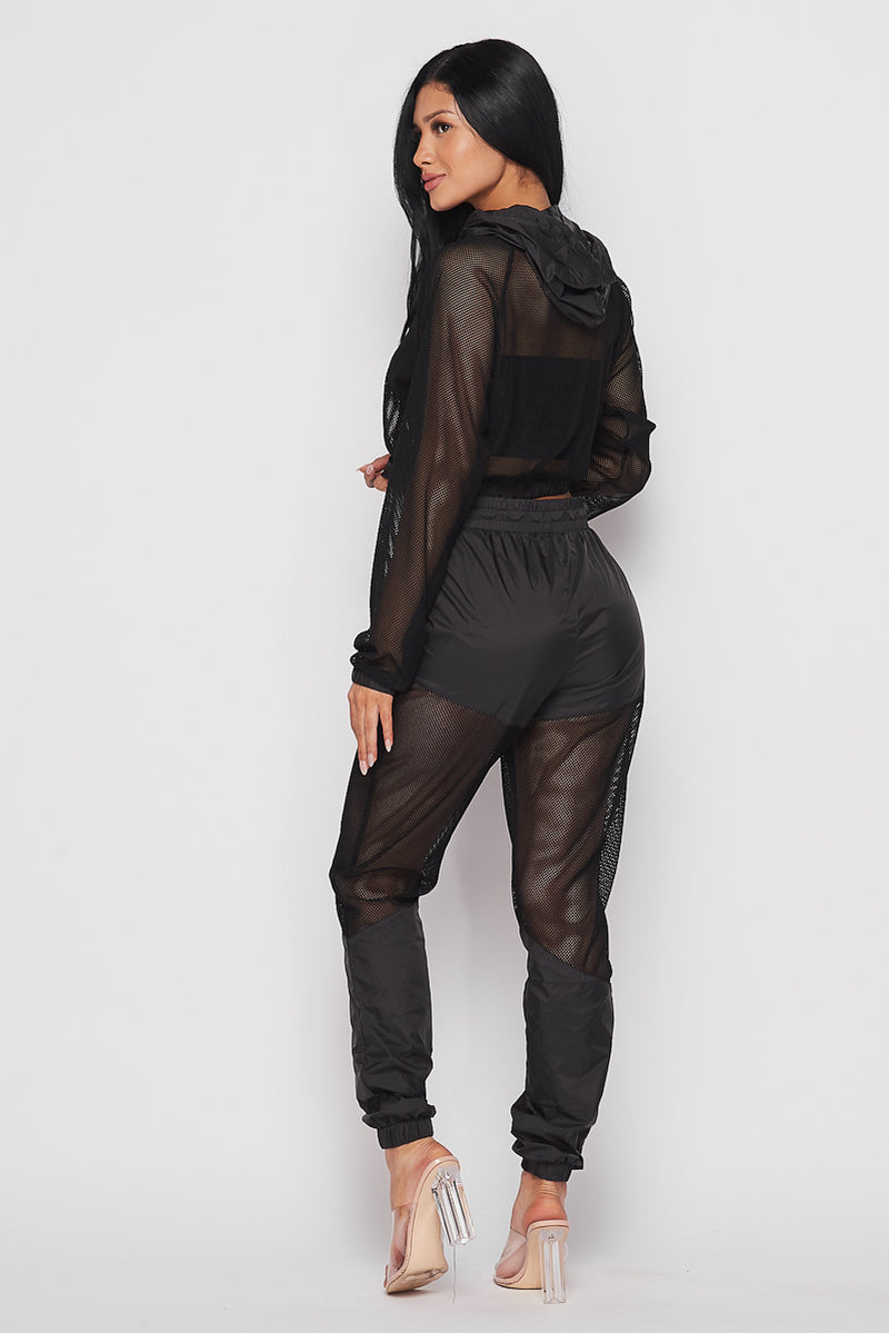 Black and Mesh Track Pant