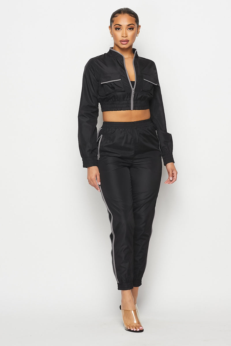 Zipper Trim Track Pant