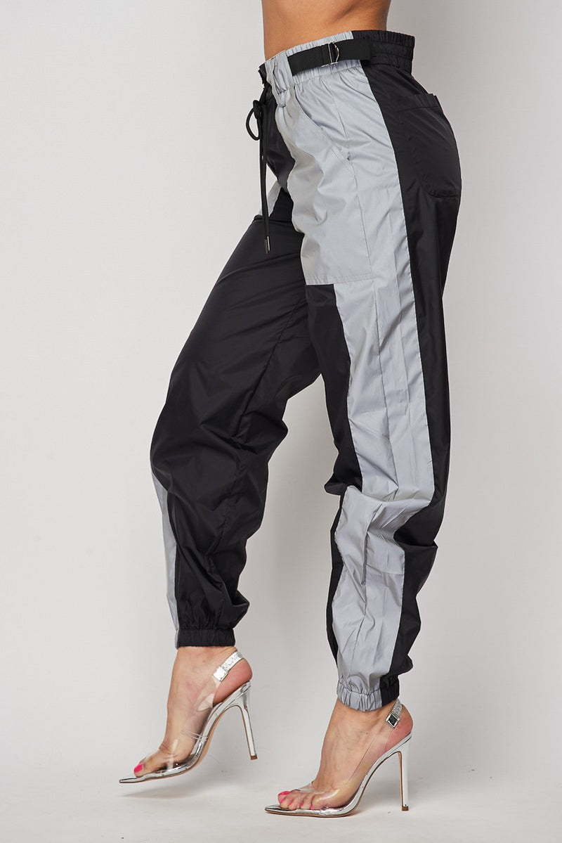 Black and Reflective Pants Buckle Sides