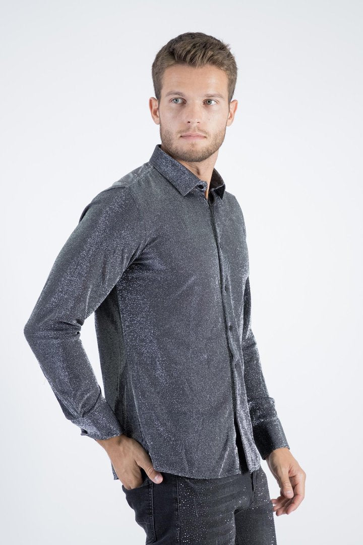 Men's Long Sleeve Shimmer Button Up