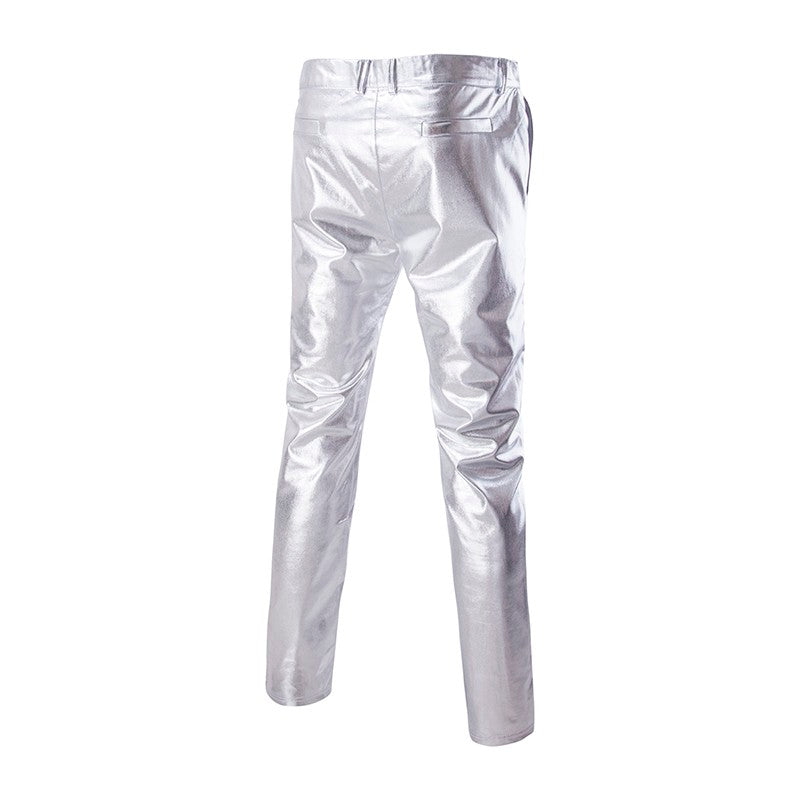 Silver Pants Zipper Stretch