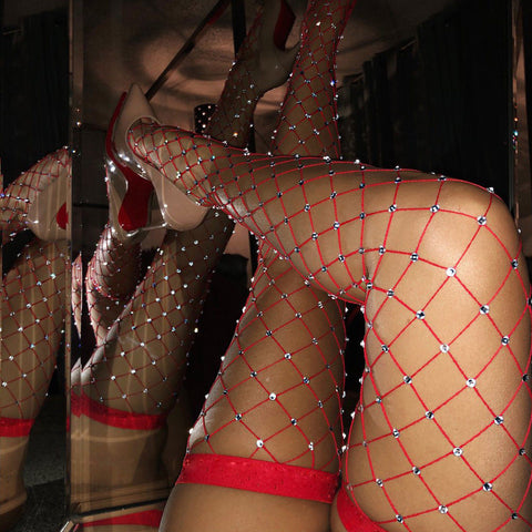 Thigh High Fishnet Rhinestone Stocking