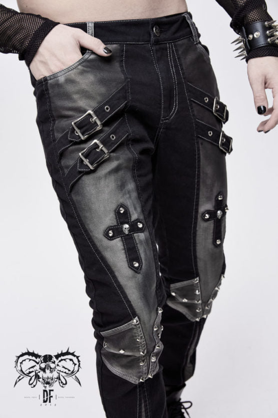 Studded Golden Accent Pants with Buckles