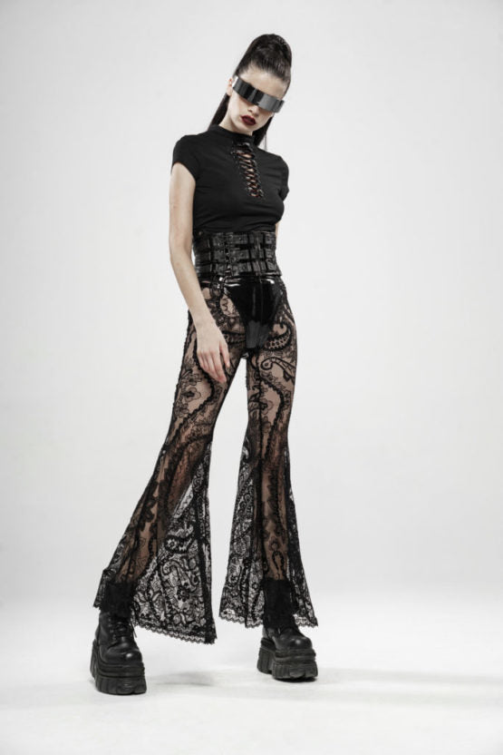 Lace Paisley Transparent Bell Bottoms