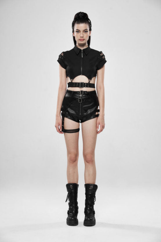 Batwing & Bullet Zippered Crop Top