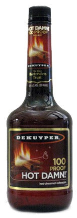 DeKuyper Hot Damn 100 Proof Cinnamon Schnapps label