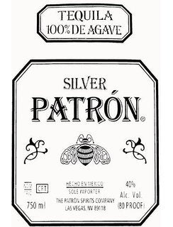 Patron Silver Tequila label