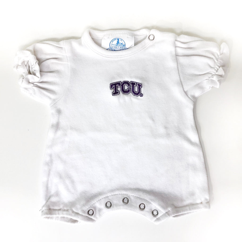 TCU Ruffled Onesie - White