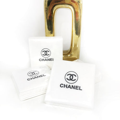 Chanel Cocktail Napkins - White Linen