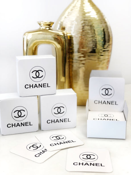 "Chanel Coasters - 4"" Round & Rectangle"