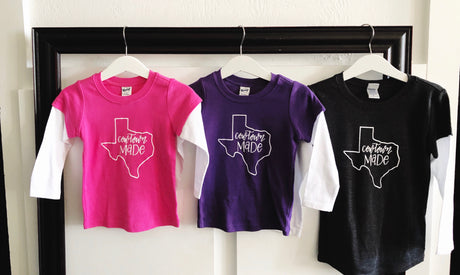 kids Long sleeve Cowtown Made T-Shirt-PINK