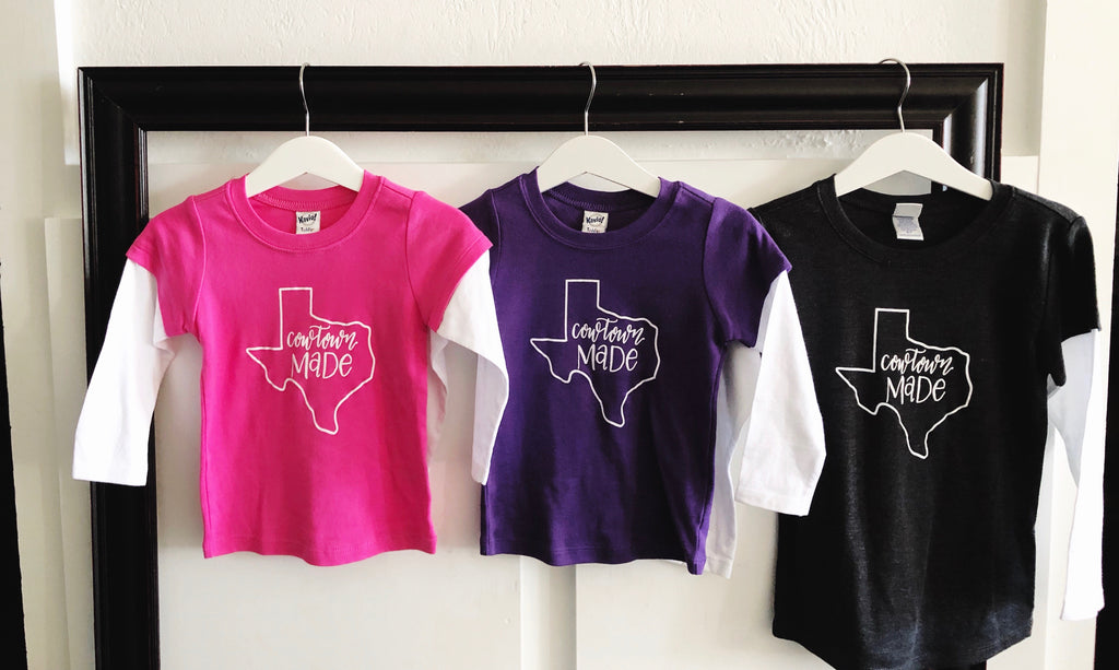 Copy of kids Long sleeve Cowtown Made T-Shirt-PURPLE