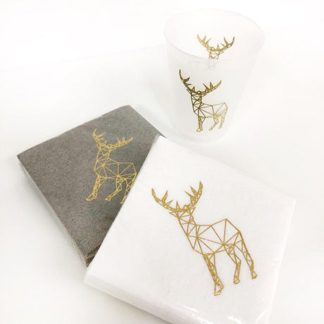 Modern Deer Cocktail Napkins - White