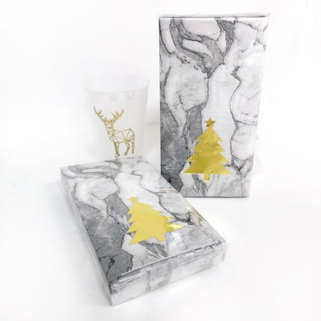 Holiday Tree Marble Guest Towels