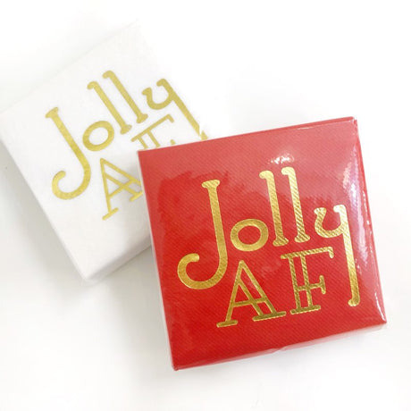 Jolly AF Linun Cocktail Napkins - Red