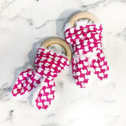 Pink Texas Hounds Tooth Teether