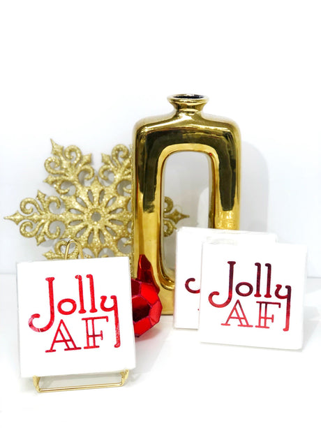 Jolly AF Linun Cocktail Napkins - White/Red
