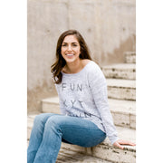 Light Grey Marble Funkytown Fleece Wide Neck Sweatshirt
